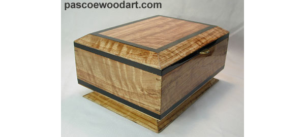 Bubinga Box - Handcrafted solid bleach bubinga with ebony trim