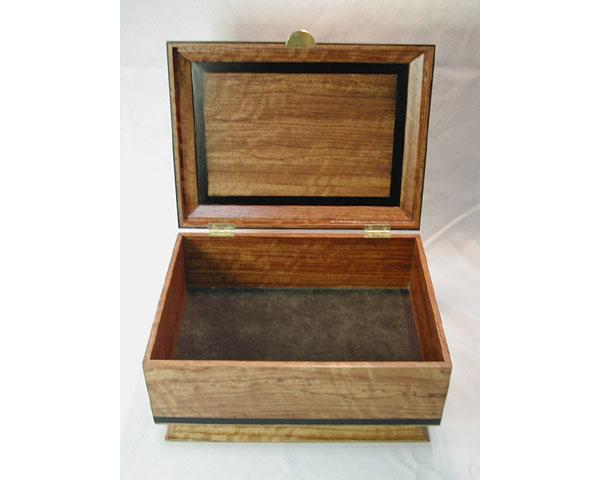 Bubinga Box - handcrafted solid bleached bubinga box with ebony trim
