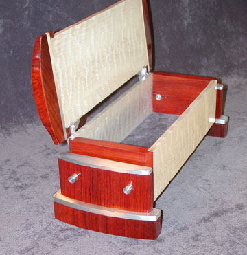 Padauk, figured maple and aluminum box - Caboose III