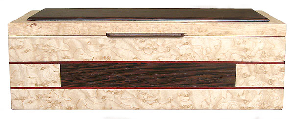 Decorative wood keepsake box made of birds eye maple, wenge - Front view