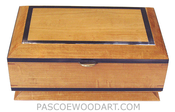 Decorative wood keepsake box - handcrafted wood box made of solid Ceylone satinwood with ebony trim