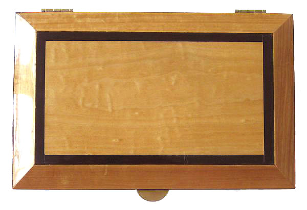 Decorative keepsake box - Ceylon satinwood box top with ebony trim