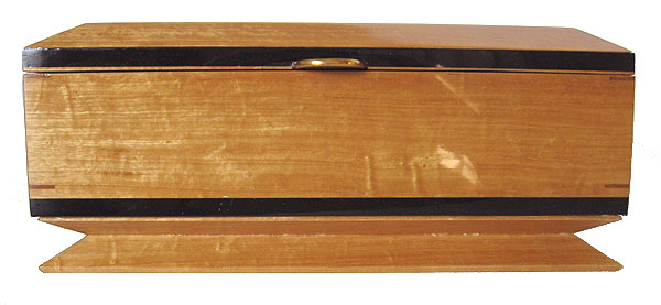Handmade wood box - Keepsake box made from solid Ceylon Satin wood with ebony trim - front view
