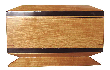 Decorative keepsake box - side view - Handmade wood box made of solid Ceylon satinwood with ebony trim