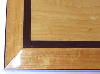 Handmade wood box - Keepsake box made from solid Ceylon Satin wood with ebony trim - open view - closeup