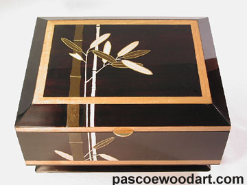 Ebonized cherry box with handpainted artwork with pigmented epoxy inlay - Bamboo