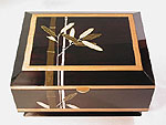 Artistic box - Ebonized cherry with artwork by pigmented epoxy inlay - Bamboo