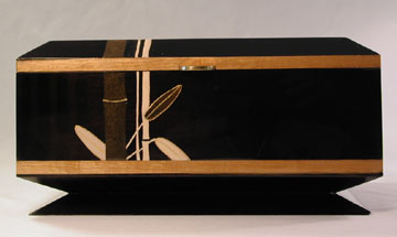 Handcrafted wood box by ebonized cherry with artwork - Bamboo