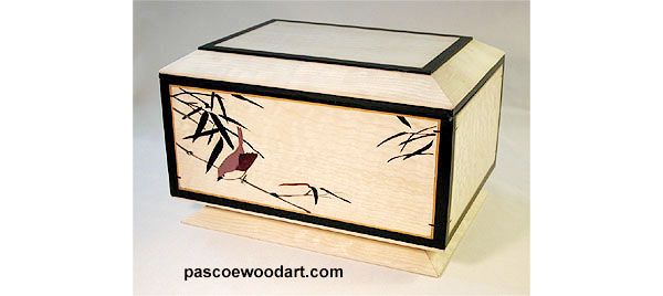 Handcrafted keepsake box with bird in bamboo engraved on front