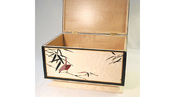 Handcrafted large keepsake box -  Bird in Bamboo