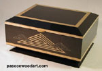 Handmade wood box - Ebonized cherry with golden Ceylon satinwood trim - Black Nile