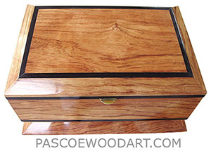 Handcrafted wood box - Decorative wood keepsake box made of bleached bubinga with ebony accents