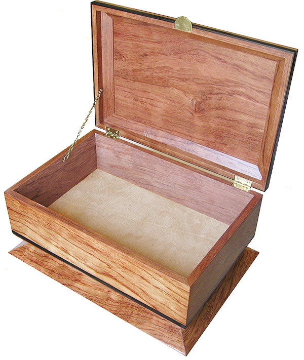 Handcrafted wood box - Open view - Decorative keepsake box made of bleached bubinga with ebony accents
