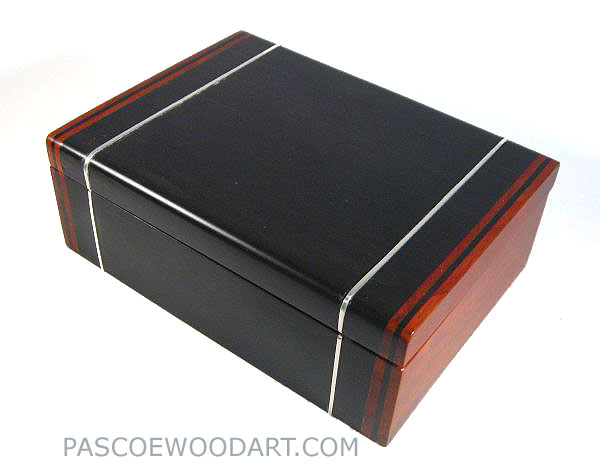 Handmade bullion coin display wood box made from ebony, cocobolo with silver inlay