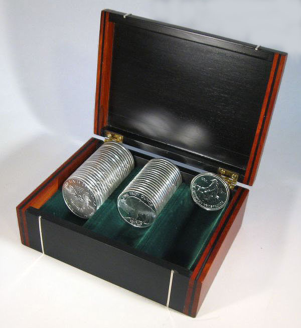 Handmade bullion coin display wood box made from ebony, cocobolo with silver inlay - open view