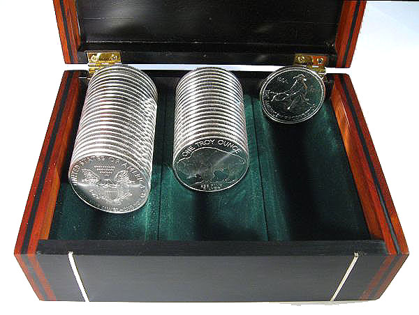 Handmade Bullion Coin Display Wood Box Made From Ebony