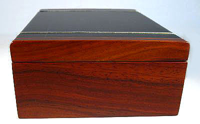 Handmade bullion coin display wood box made from ebony, cocobolo with silver inlay - side view