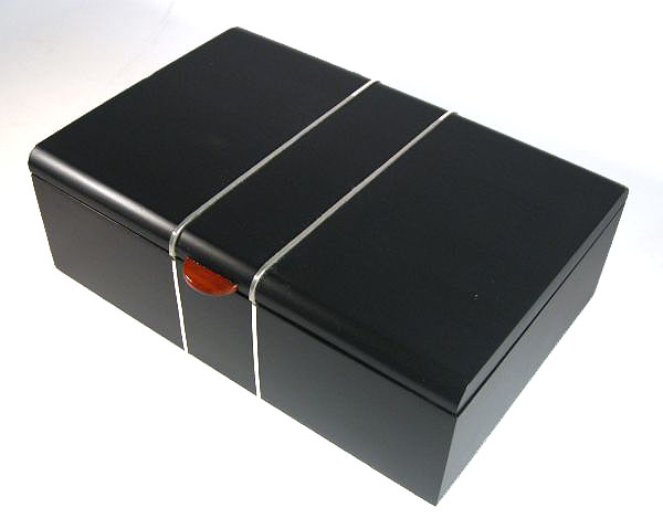 Handmade bullion coin display wood box made from ebony with silver inlay - open view