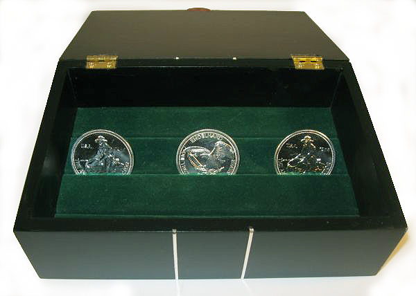 Handmade bullion coin display wood box made from ebony with silver inlay - open view closeup