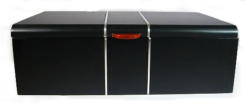 Handmade bullion coin display wood box made from ebony with silver inlay - front view