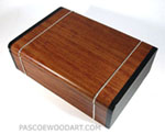 Bullion coins display box handmade from bubinga, ebony with silver inlay
