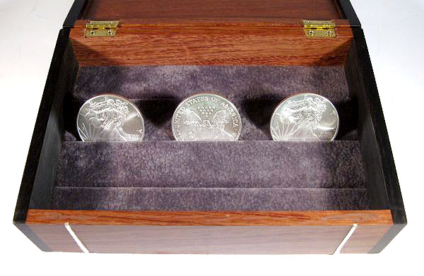 Handmade bullion coin display box made from bubinga wood,  ebony with silver inlay - open view closeup