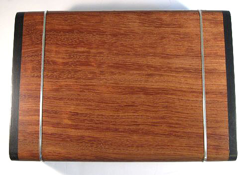 Handmade bullion coin display box made from bubinga wood,  ebony with silver inlay - top view