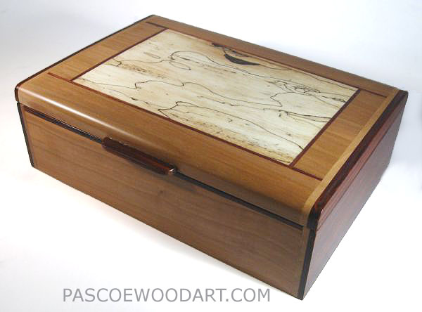 Decorative business card box handmade from pearwood, cocobolo and spalted maple