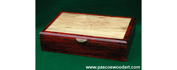 Caballero III - Man's box - Valet or Keepsake - Cocobolo box with spalted maple veneer top inset