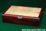 Spalted Maple top inset on Colobolo box - Man's valet box, keepsake box
