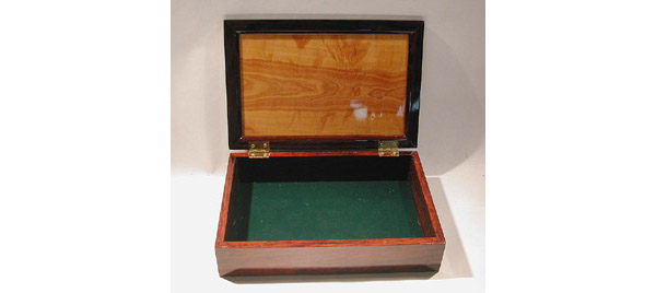 Handmade cocobolo and pear burl wood box for men open view