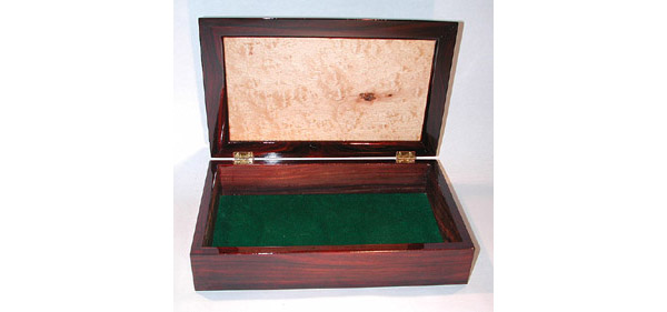 Man's box made of cocobolo and maple burl wood open view