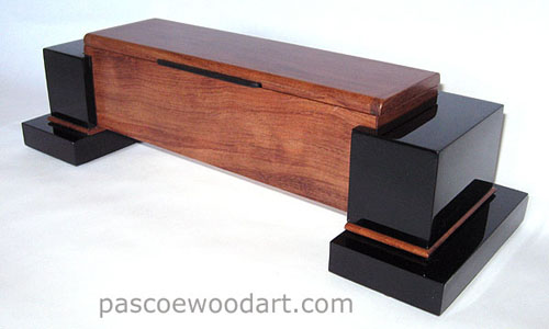 Handmade bubinga and ebonized cherry wood box with pillars