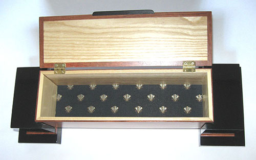 Handmade bubinga and ebonized cherry wood box with pillars - open view