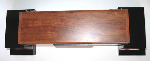 Handmade bubinga and ebonized cherry wood box with pillars - Top view
