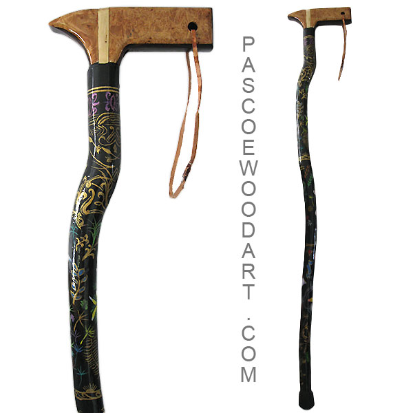 Hand painted natural wood walking cane - Myrtle wood