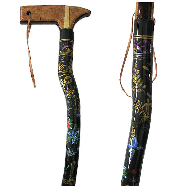 Hand painted natural wood walking cane - Myrtle wood walking stick