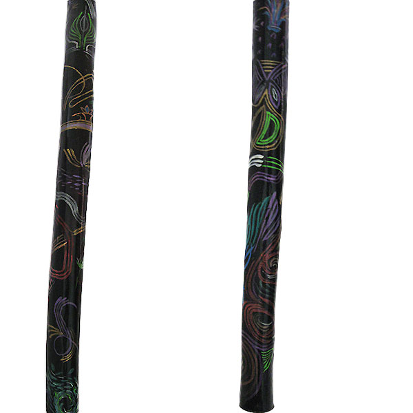 Hand painted natural wood walking cane