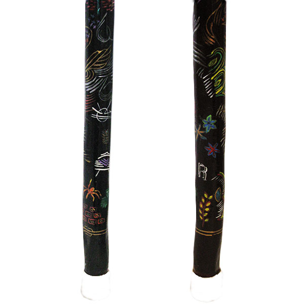 Hand painted natural wood walking cane - bottom section