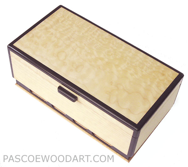 Decorative wood keepsake box - Handcrafted wood box made of bleached solid quilted big leaf maple, ebony
