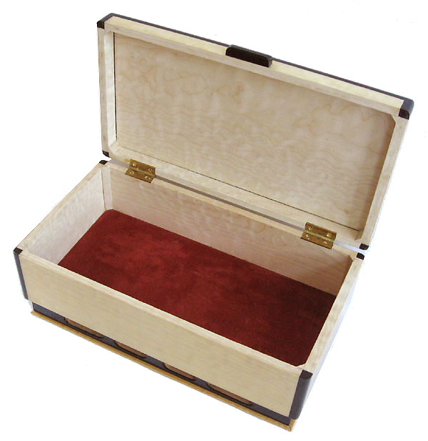 Decorative wood keepsake box - open view - Handcrafted wood box made of bleached solid quilted big leaf maple with ebony trim