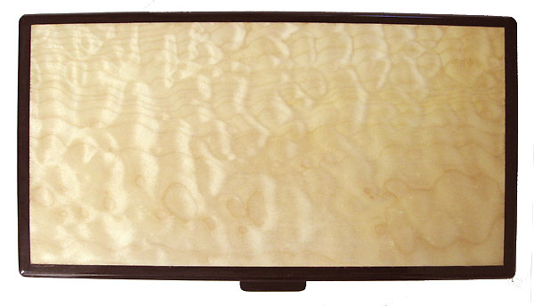 Quilted big leave maple keepsake box top with ebony trim - Handcrafted wood box