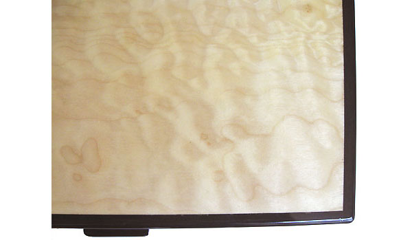 Quilted big leaf maple box top close up - Handcrafted decorative wood box