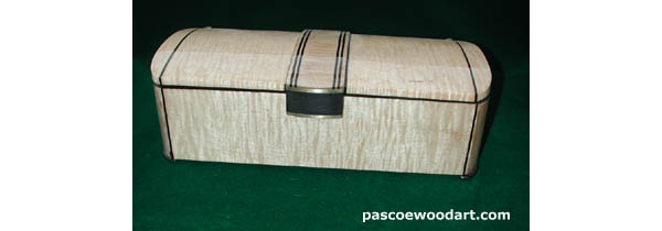 Handcrafted, decorative wood box: Tiger maple - ebony - brass; All solid woods, hand made brass hinges and trim, high gloss urethane varnish vinish