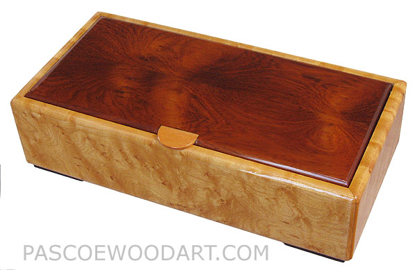 Handmade decorative wood desktop box made of bird's eye maple with Honduras rosewood top