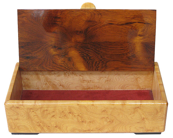 Handmade wood desktop box - open view - Bird's eye maple, Honduras rosewood