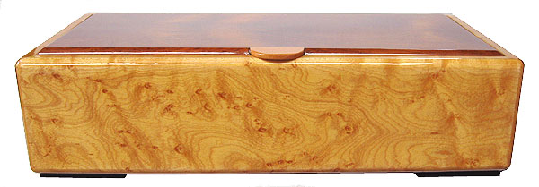 Decorative wood desktop box - bird's eye maple box front view
