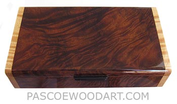 Handmade wood box - Decorative wood desktop box, pen box made of camphor burl with maple ends