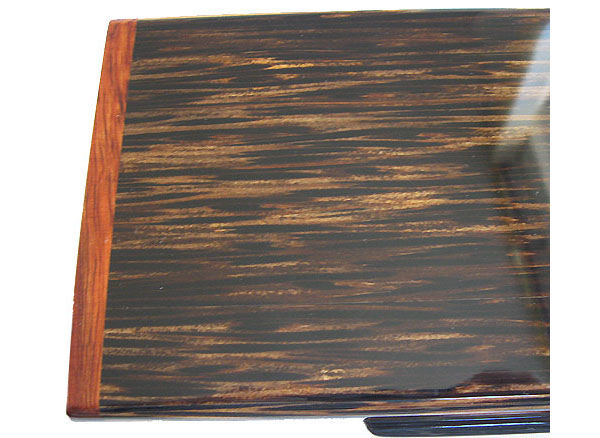 Black palm box top close up - Handmade wood decorative desktop box