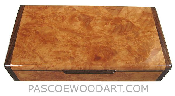Handmade slim wood box - Decorative wood desktop box made of maple burl with Santos rosewood ends